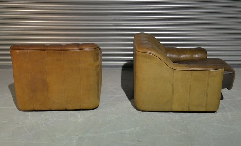Vintage Ds Sede DS 44 Armchairs with Ottoman, Switzerland 1970s 4