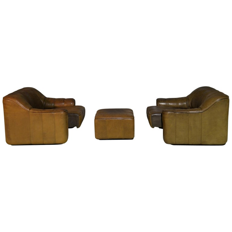 Vintage Ds Sede DS 44 Armchairs with Ottoman, Switzerland 1970s 10