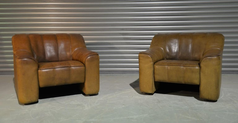 Mid-Century Modern Vintage Ds Sede DS 44 Armchairs with Ottoman, Switzerland 1970s