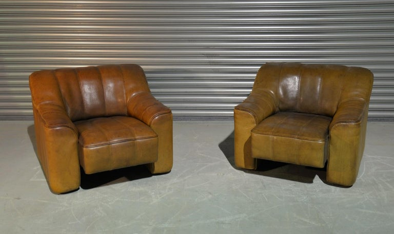 Swiss Vintage Ds Sede DS 44 Armchairs with Ottoman, Switzerland 1970s