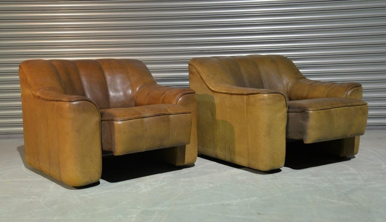 Vintage Ds Sede DS 44 Armchairs with Ottoman, Switzerland 1970s In Good Condition In Fen Drayton, Cambridgeshire