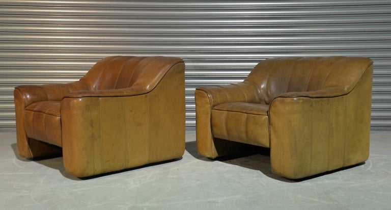 Leather Vintage Ds Sede DS 44 Armchairs with Ottoman, Switzerland 1970s