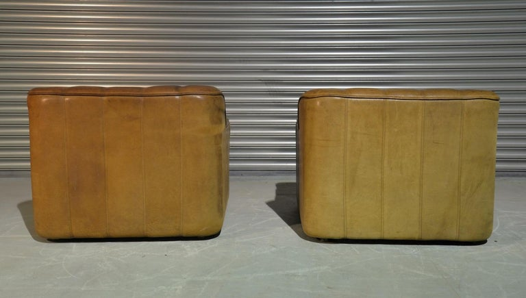 Vintage Ds Sede DS 44 Armchairs with Ottoman, Switzerland 1970s 2