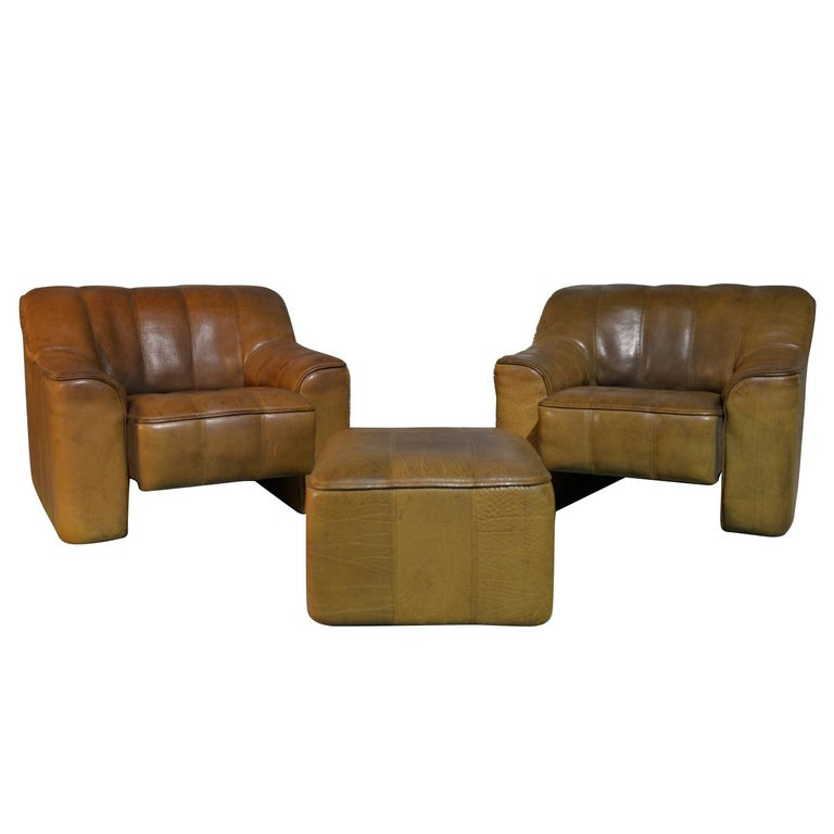 Vintage Ds Sede DS 44 Armchairs with Ottoman, Switzerland 1970s