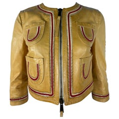 Vintage Dsquared2 Yellow and Red Leather Jacket, Size 42
