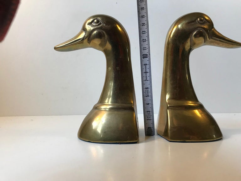 Vintage Duck Bookends in Brass, 1950s, Set of 2 For Sale 5