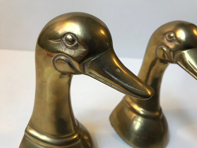 Mid-Century Modern Vintage Duck Bookends in Brass, 1950s, Set of 2 For Sale