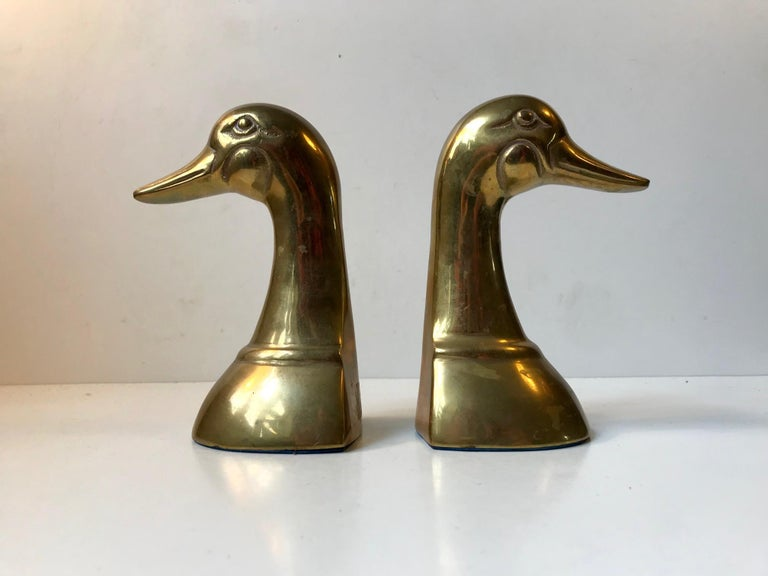 Vintage Duck Bookends in Brass, 1950s, Set of 2 In Good Condition For Sale In Esbjerg, DK