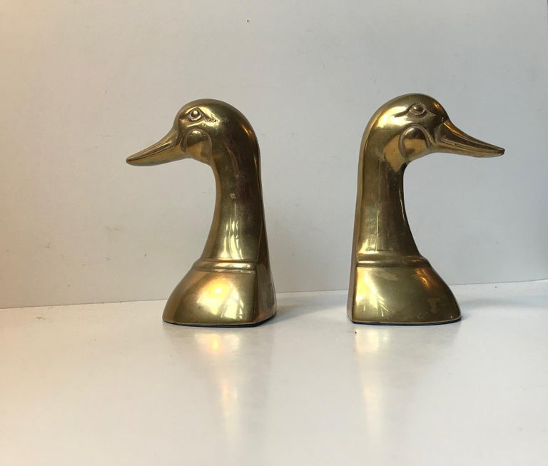 Mid-20th Century Vintage Duck Bookends in Brass, 1950s, Set of 2 For Sale
