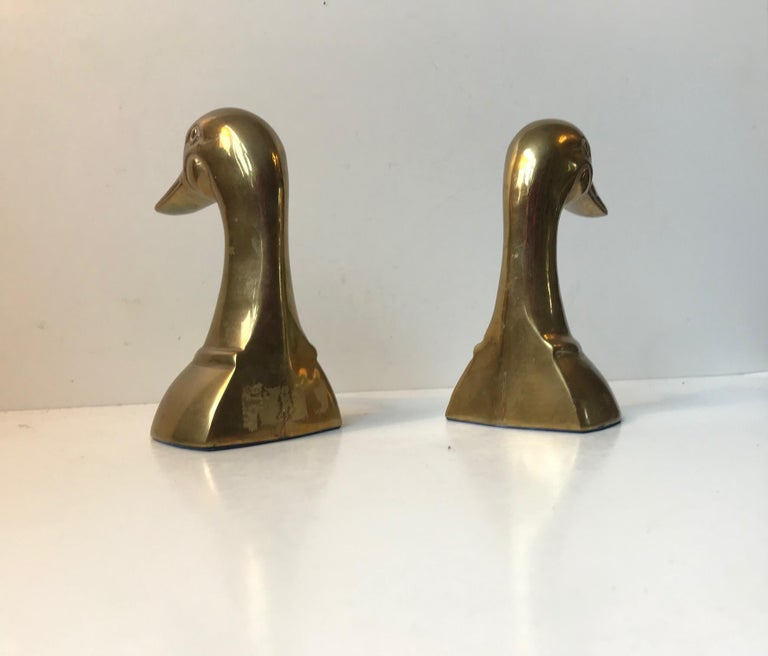 Vintage Duck Bookends in Brass, 1950s, Set of 2 For Sale 1