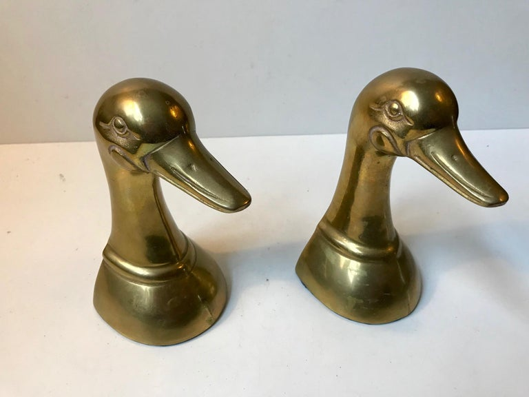 Vintage Duck Bookends in Brass, 1950s, Set of 2 For Sale 2
