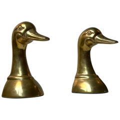 Vintage Duck Bookends in Brass, 1950s, Set of 2
