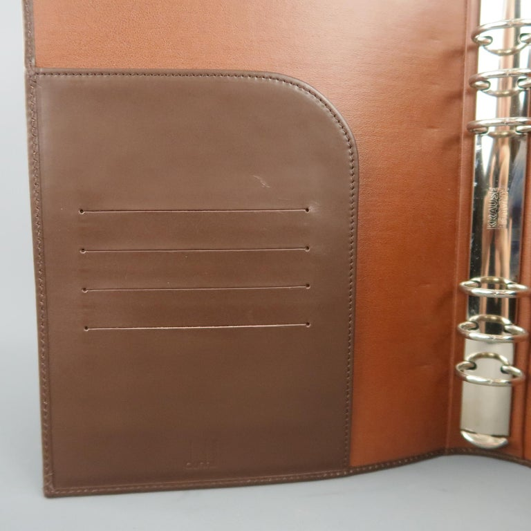Vintage DUNHILL Brown Leather Binder Portfolio For Sale 6