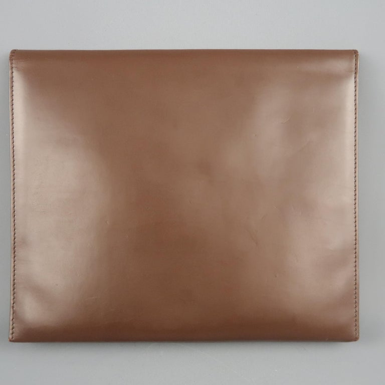 Vintage DUNHILL Brown Leather Binder Portfolio In Good Condition For Sale In San Francisco, CA