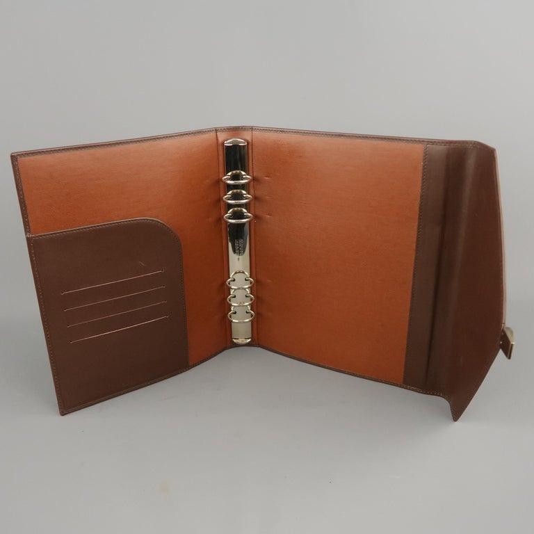 Vintage DUNHILL Brown Leather Binder Portfolio For Sale 4