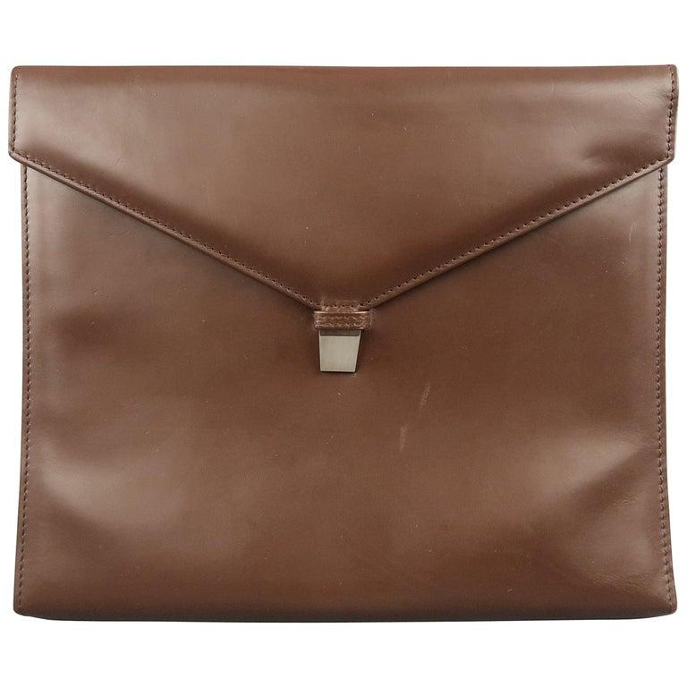 Vintage DUNHILL Brown Leather Binder Portfolio For Sale