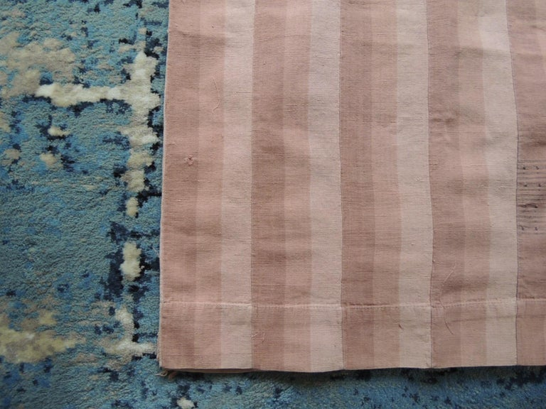 Vintage dusty pink stripe African Yoruba textile panel. Woven stripes sewned together by hand. Ideal for pillows, wall hanging or table cloth. Size: 59