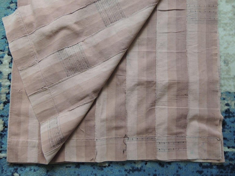 Tribal Vintage Dusty Pink Stripe African Yoruba Textile Panel For Sale