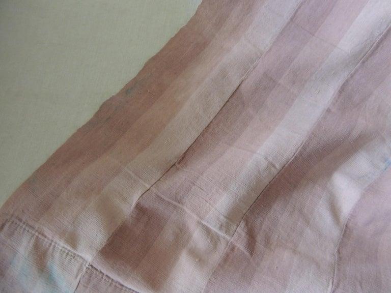 Cotton Vintage Dusty Pink Stripe African Yoruba Textile Panel For Sale