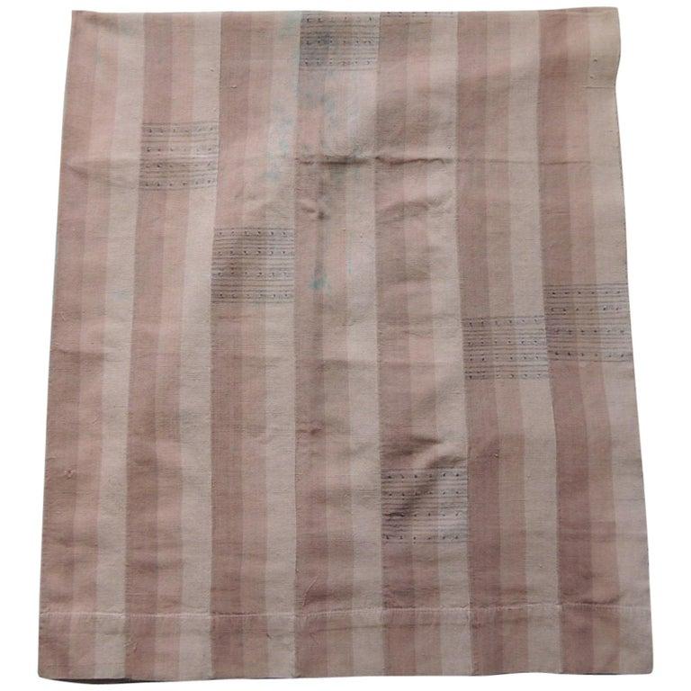 Vintage Dusty Pink Stripe African Yoruba Textile Panel For Sale