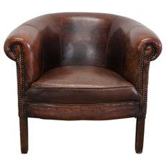 Vintage Dutch Burgundy-Colored Leather Club Chair