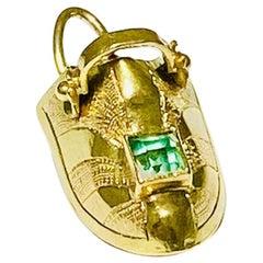 Vintage Dutch Clog Bootie Green Tourmaline Charm in 18 Karat Gold, Shoe Charm