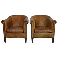 Vintage Dutch Cognac-Colored Leather Club Chair, Set of 2
