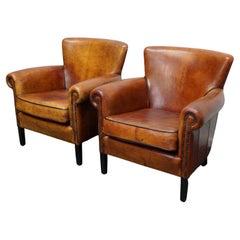 Vintage Dutch Cognac Colored Leather Club Chair, Set of 2