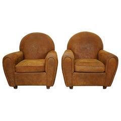 Vintage Dutch Cognac Colored Leather Club Chairs, Set of 2