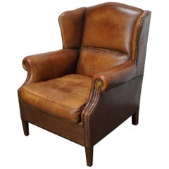 Vintage Dutch Cognac Colored Leather Wingback Club Chair