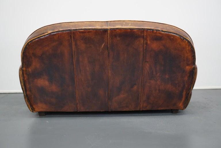Vintage Dutch Cognac Leather 2-Seat Sofa 5