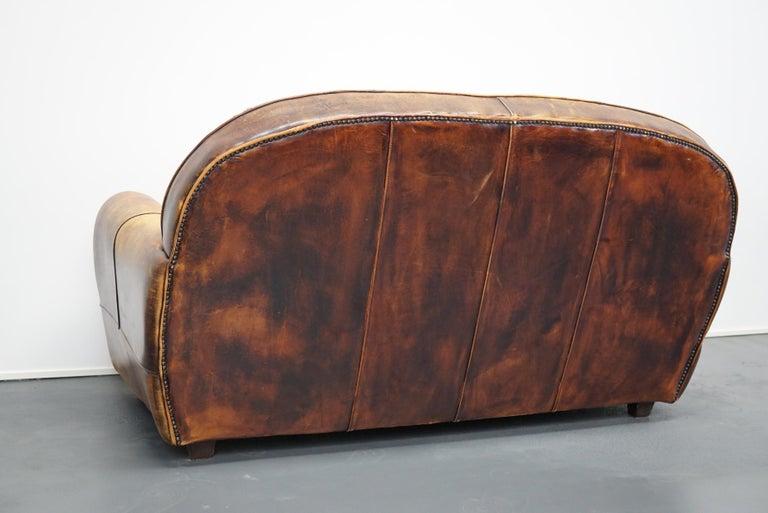 Vintage Dutch Cognac Leather 2-Seat Sofa 6