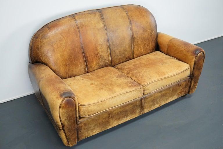 Industrial Vintage Dutch Cognac Leather 2-Seat Sofa