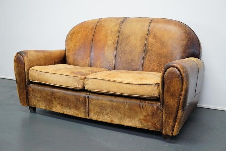 Vintage Dutch Cognac Leather 2-Seat Sofa In Good Condition In Nijmegen, NL