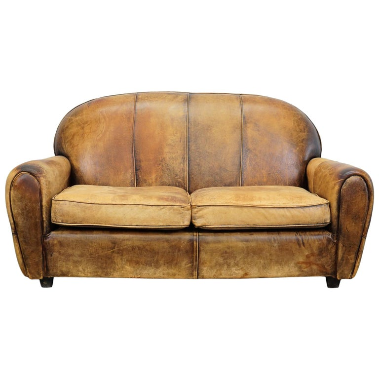Vintage Dutch Cognac Leather 2 Seat Sofa For Sale At 1stdibs