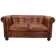 Vintage Dutch Cognac Leather 2-Seat Sofa