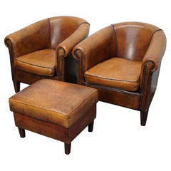 Vintage Dutch Cognac Leather Club Chairs, Set of 2 with Footstool