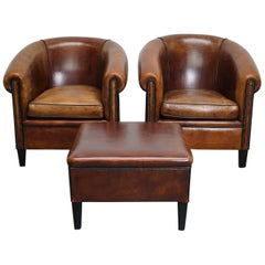 Vintage Dutch Cognac Leather Club Chairs, Set of 2 with Hocker