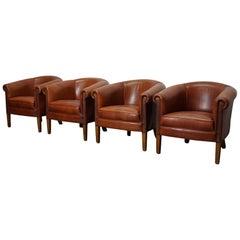 Vintage Dutch Cognac Leather Club Chairs, Set of 4