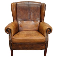 Vintage Dutch Cognac Leather Wingback Club Chair