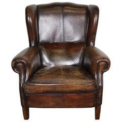 Vintage Dutch Cognac Leather Wingback Club Chair