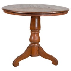 Vintage Dutch Colonial Indonesian Round Top Pedestal Table with Tripod Base