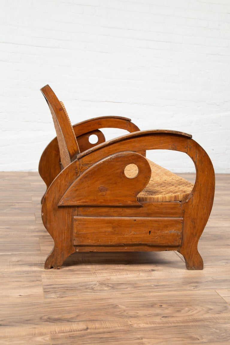 Vintage Dutch Colonial Midcentury Teak Wood And Rattan