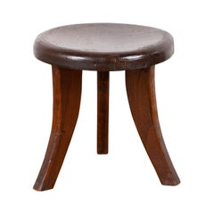 Vintage Dutch Colonial Rustic Three-Legged Wooden Stool with Saber Legs