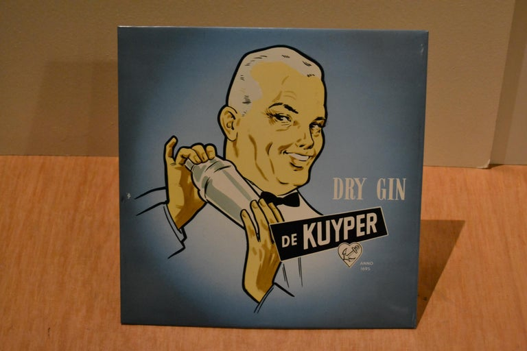 20th Century Vintage Dutch Counter Top Advertising Sign for Gin For Sale