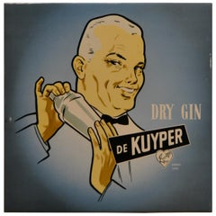 Vintage Dutch Counter Top Advertising Sign for Gin