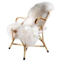 Vintage Dutch Design Rohe Rattan and Sheepskin Lounge Chair, 1960s