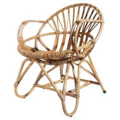Vintage Dutch Design Rohe Rattan and Sheepskin Lounge Chair, 1960s nr2
