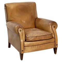 Vintage Dutch Leather Club or Lounge Chair from the Art Deco Era