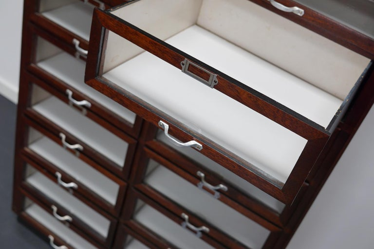 Vintage Dutch Mahogany Haberdashery Shop Cabinet, 1930s For Sale 12